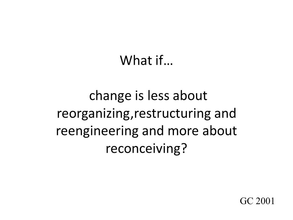 What if… change is less about reorganizing,restructuring and reengineering and more about reconceiving? GC 2001
