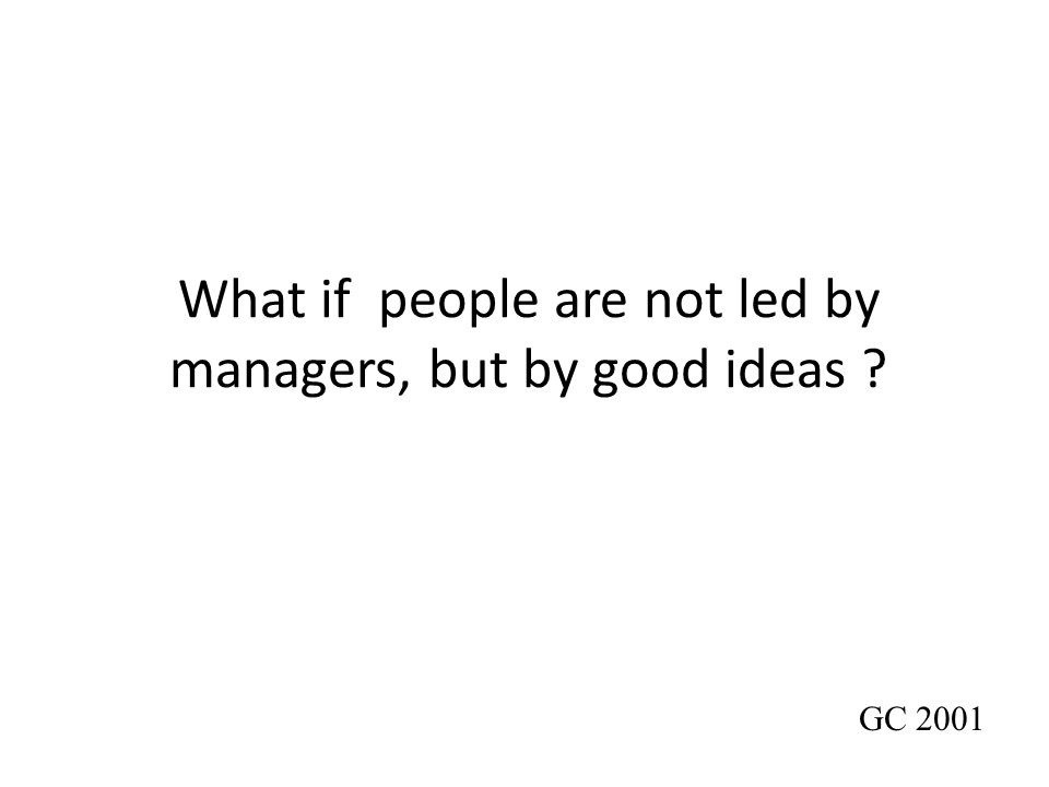 What if people are not led by managers, but by good ideas ? GC 2001