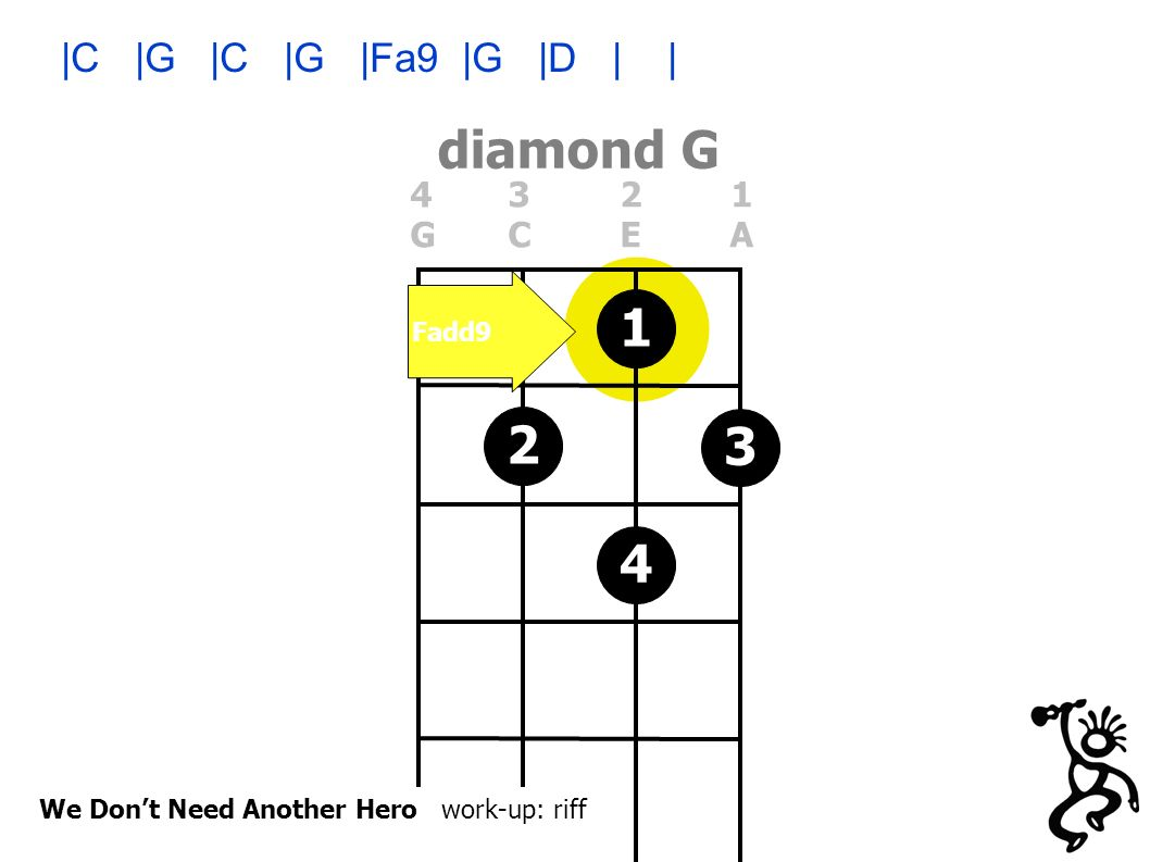 diamond G 4321GCEA4321GCEA We Dont Need Another Hero work-up: riff 3412 Fadd9 |C |G |C |G |Fa9 |G |D | |