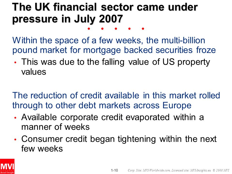 1-10 Corp. Site: MVI-Worldwide.com, Licensed site: MVI-Insights.eu © 2008 MVI The UK financial sector came under pressure in July 2007 Within the spac