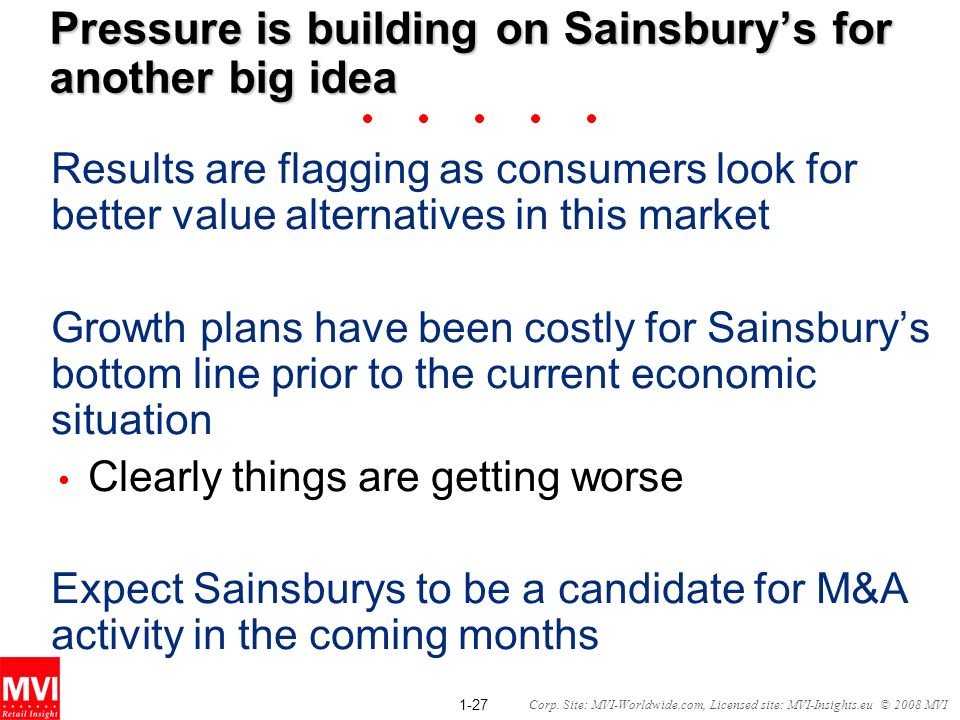 1-27 Corp. Site: MVI-Worldwide.com, Licensed site: MVI-Insights.eu © 2008 MVI Pressure is building on Sainsburys for another big idea Results are flag
