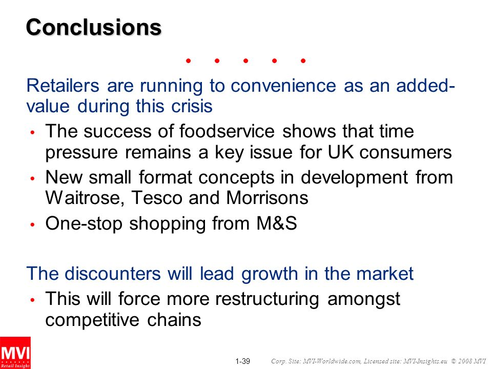1-39 Corp. Site: MVI-Worldwide.com, Licensed site: MVI-Insights.eu © 2008 MVIConclusions Retailers are running to convenience as an added- value durin