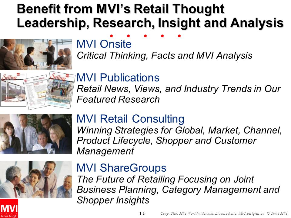 1-5 Corp. Site: MVI-Worldwide.com, Licensed site: MVI-Insights.eu © 2008 MVI Benefit from MVIs Retail Thought Leadership, Research, Insight and Analys