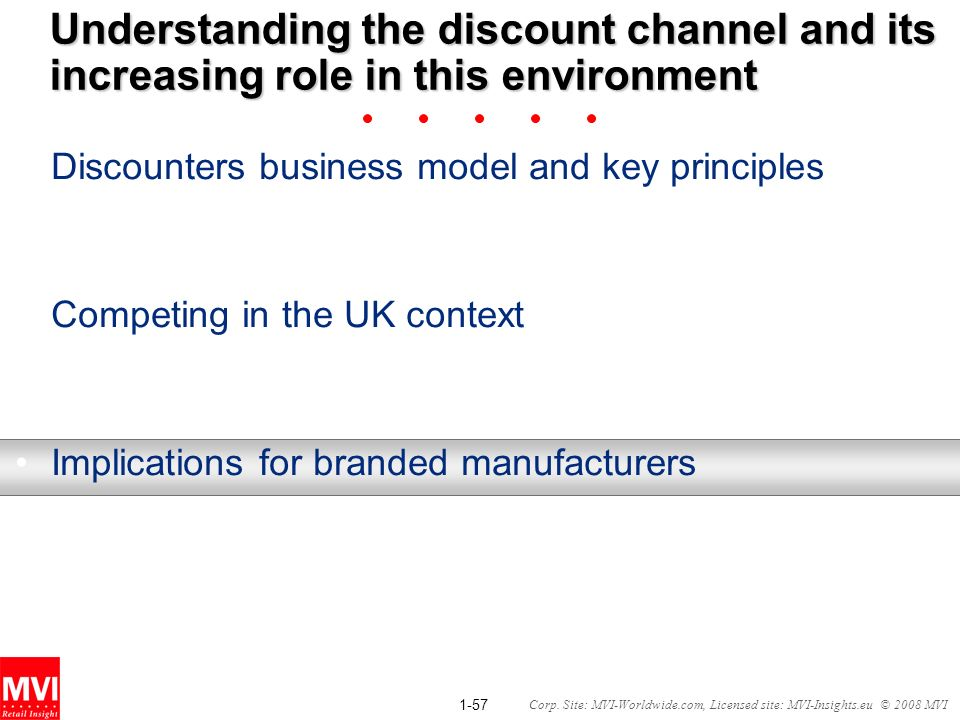 1-57 Corp. Site: MVI-Worldwide.com, Licensed site: MVI-Insights.eu © 2008 MVI Understanding the discount channel and its increasing role in this envir