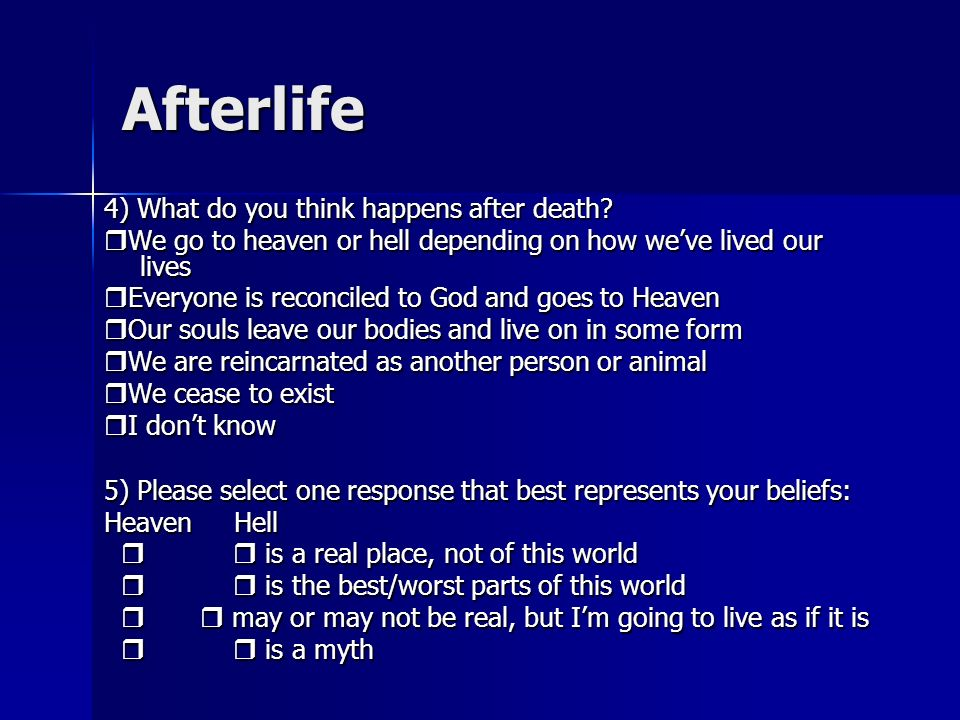 Afterlife 4) What do you think happens after death.