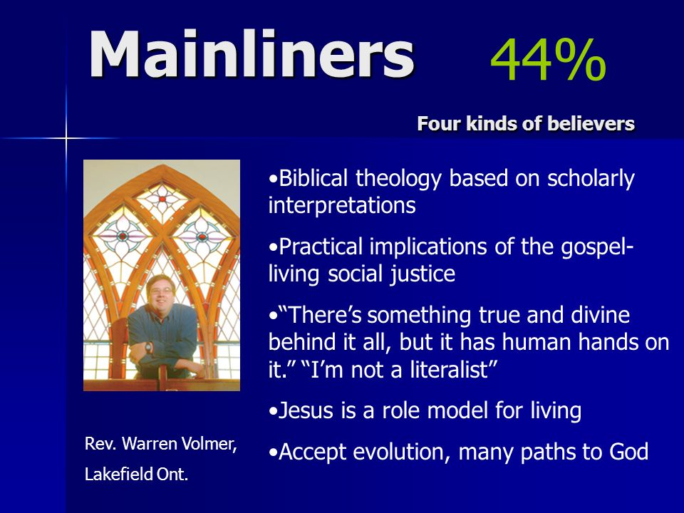 Mainliners Four kinds of believers Rev. Warren Volmer, Lakefield Ont. Biblical theology based on scholarly interpretations Practical implications of t