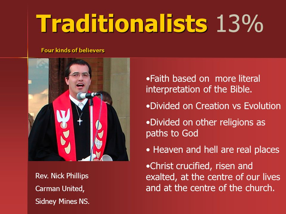 Traditionalists Four kinds of believers Traditionalists 13% Four kinds of believers Rev.