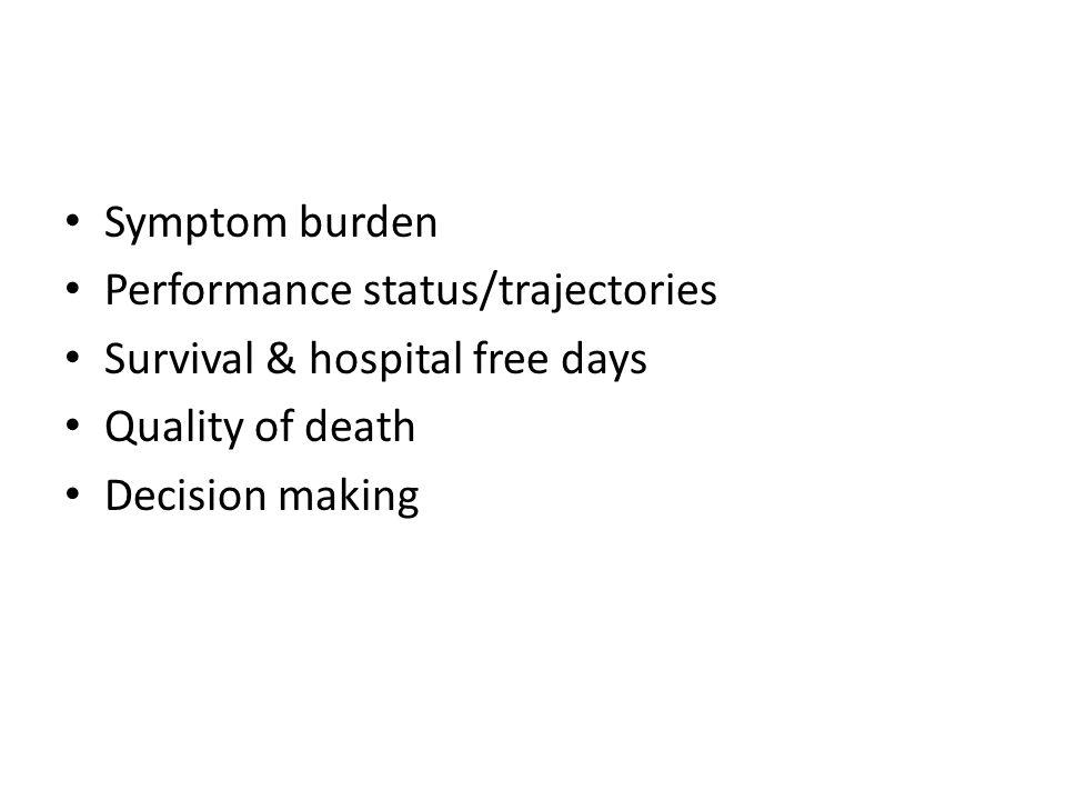 Symptom burden Performance status/trajectories Survival & hospital free days Quality of death Decision making