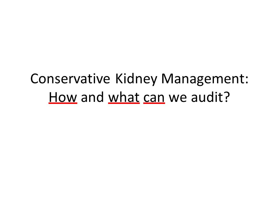 Conservative Kidney Management: How and what can we audit?