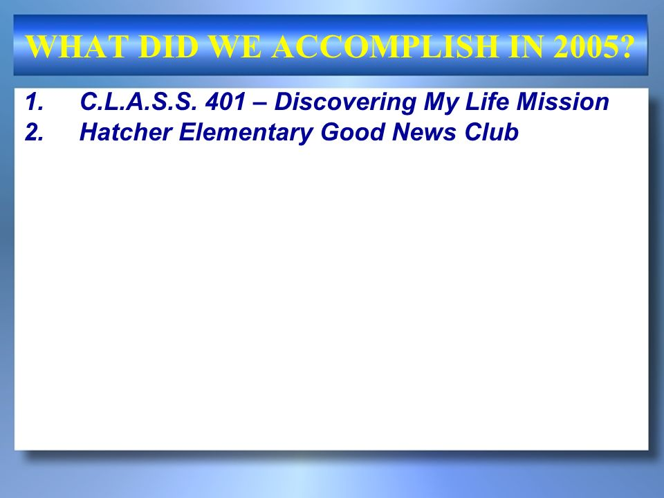 WHAT DID WE ACCOMPLISH IN 2005? 1.C.L.A.S.S. 401 – Discovering My Life Mission