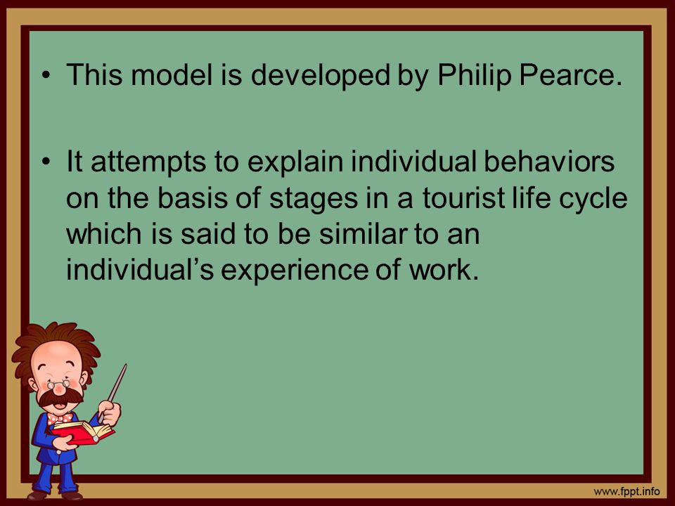 This model is developed by Philip Pearce. It attempts to explain individual behaviors on the basis of stages in a tourist life cycle which is said to