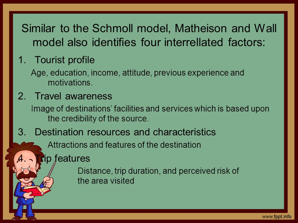 Similar to the Schmoll model, Matheison and Wall model also identifies four interrellated factors: 1.Tourist profile Age, education, income, attitude,