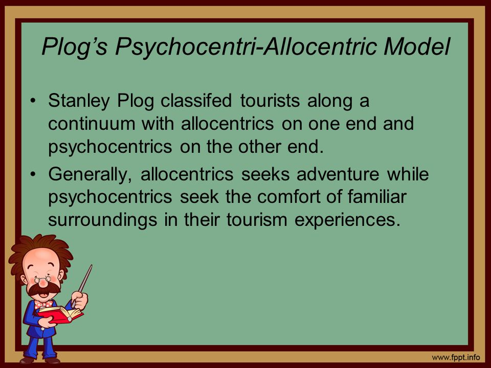 Plogs Psychocentri-Allocentric Model Stanley Plog classifed tourists along a continuum with allocentrics on one end and psychocentrics on the other en
