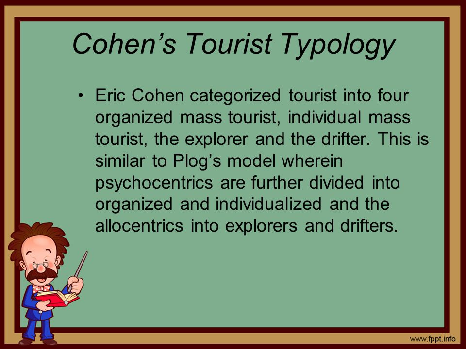 Cohens Tourist Typology Eric Cohen categorized tourist into four organized mass tourist, individual mass tourist, the explorer and the drifter. This i