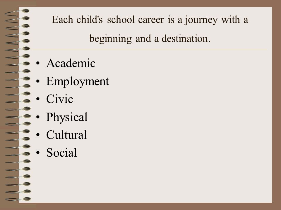 Each child's school career is a journey with a beginning and a destination. Academic Employment Civic Physical Cultural Social