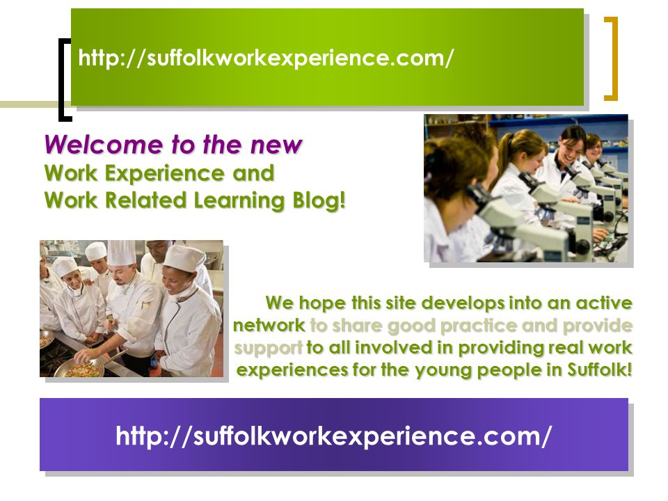 Welcome to the new Work Experience and Work Related Learning Blog! http://suffolkworkexperience.com/ We hope this site develops into an active network