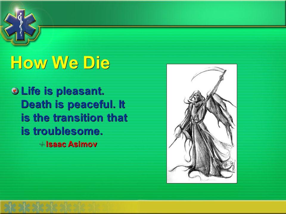 How We Die Estimated 500,000 deaths each year attributable to cardiac arrest.