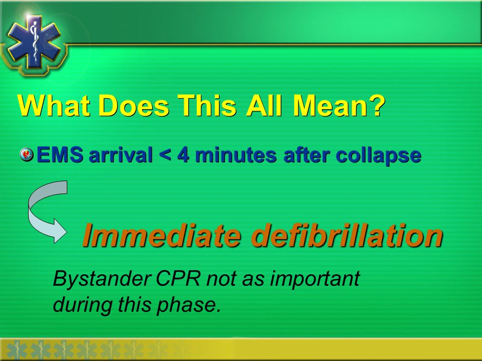 What Does This All Mean? EMS arrival < 4 minutes after collapse Immediate defibrillation Bystander CPR not as important during this phase.