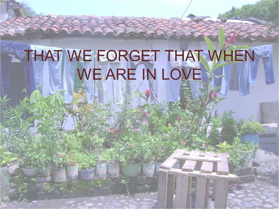 THAT WE FORGET THAT WHEN WE ARE IN LOVE
