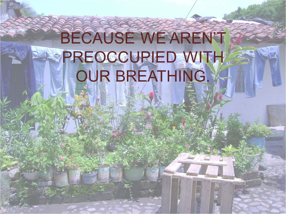 BECAUSE WE ARENT PREOCCUPIED WITH OUR BREATHING.