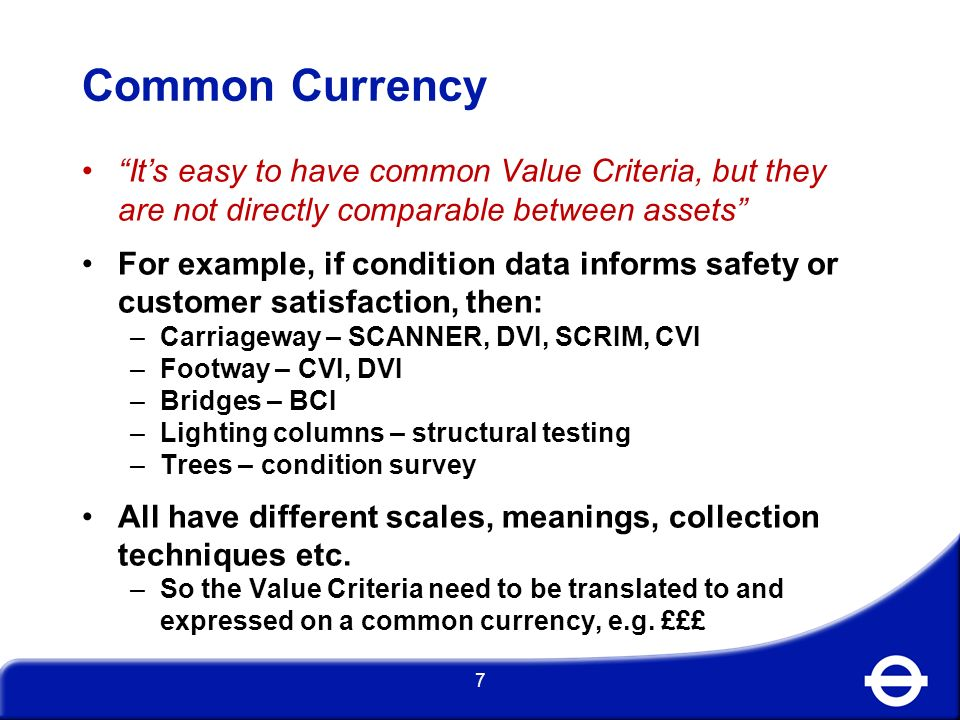 How do you translate asset information to a common currency.