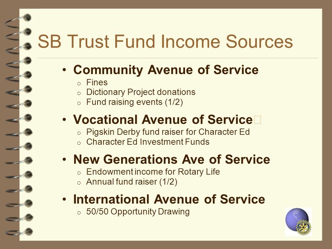 SB Trust Fund Income Sources Community Avenue of Service o Fines o Dictionary Project donations o Fund raising events (1/2) Vocational Avenue of Servi