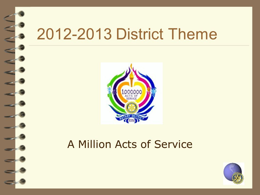 2012-2013 District Theme A Million Acts of Service