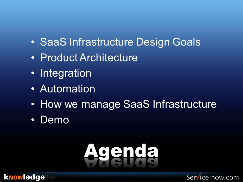 SaaS Infrastructure Design Goals Product Architecture Integration Automation How we manage SaaS Infrastructure Demo
