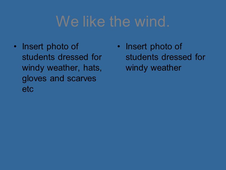 We like the wind.
