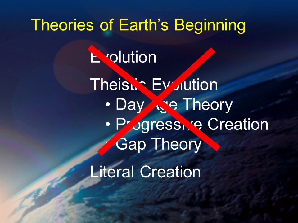 Evolution Theistic Evolution Day Age Theory Progressive Creation Gap Theory Literal Creation Theories of Earths Beginning
