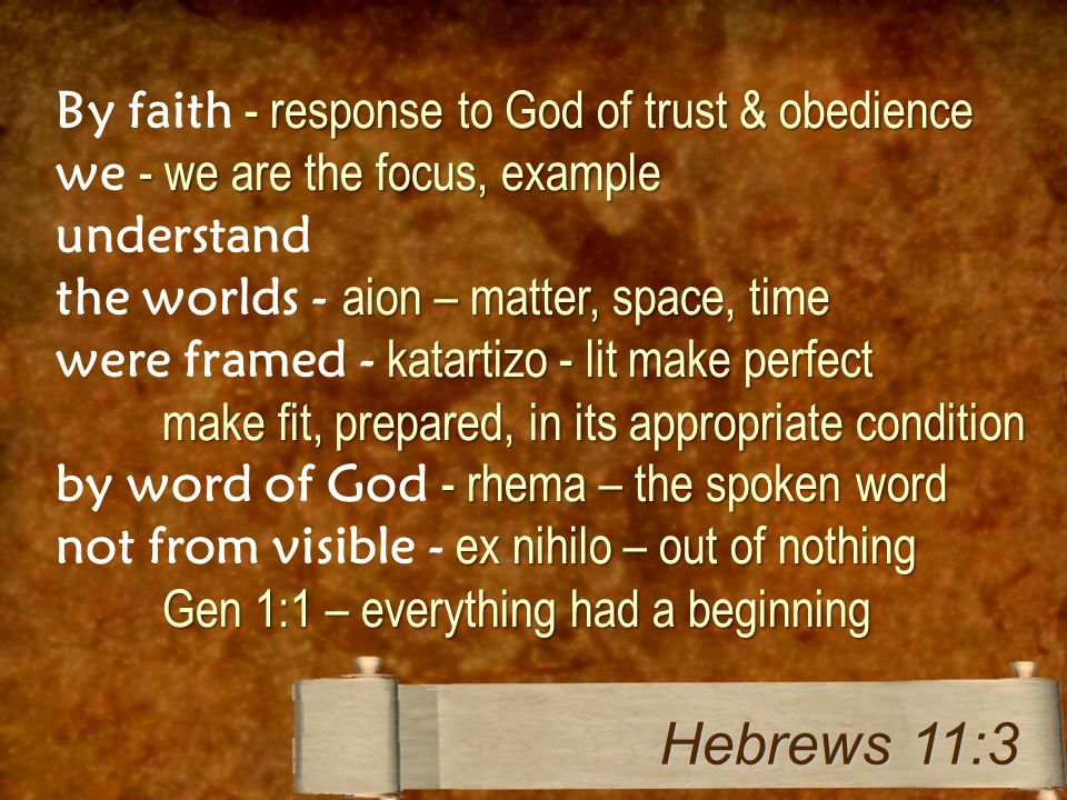 - response to God of trust & obedience By faith - response to God of trust & obedience - we are the focus, example we - we are the focus, example unde
