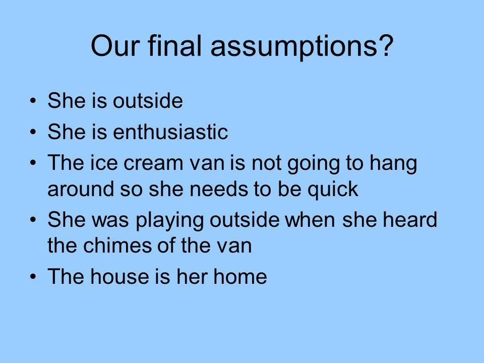 Our final assumptions.