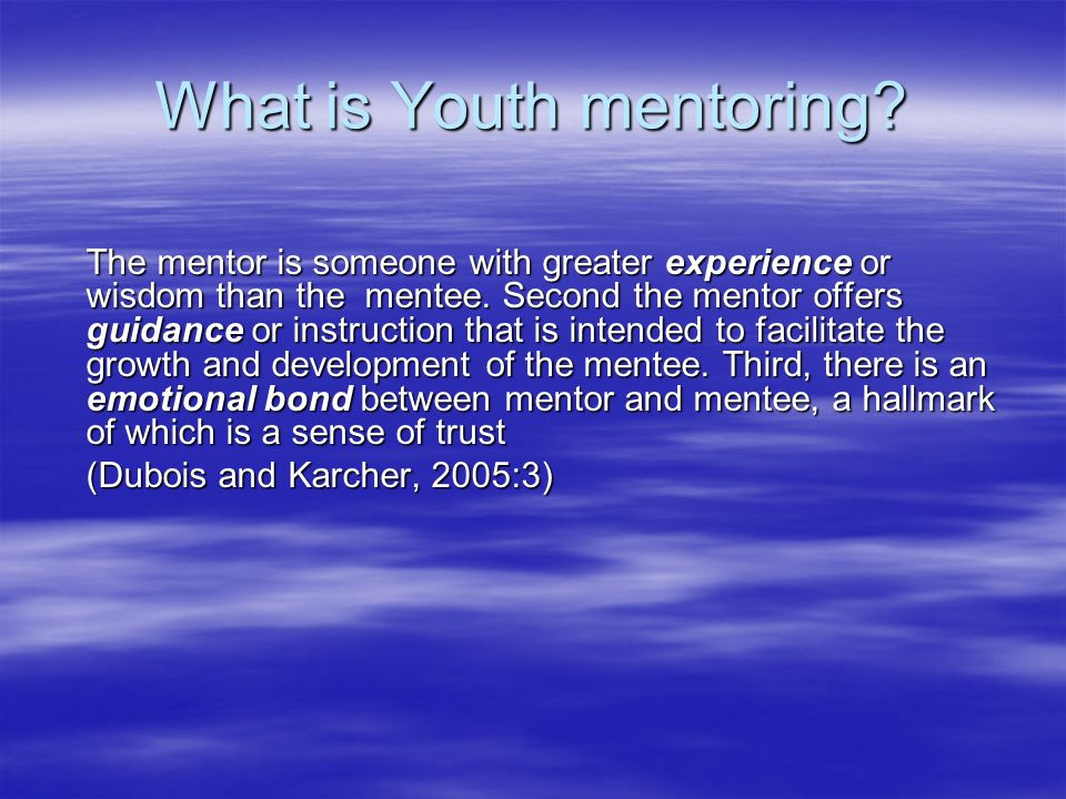 Building a mentor rich environment Assumption that young people have few opportunities to develop informal relationships with adults Assumption that young people have few opportunities to develop informal relationships with adults Capitalising on shared interests and capacities Capitalising on shared interests and capacities Offering a link between individual and group Offering a link between individual and group Need for longitudinal insights Need for longitudinal insights