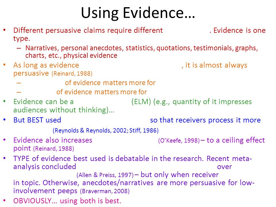 Using Evidence… Different persuasive claims require different. Evidence is one type. – Narratives, personal anecdotes, statistics, quotations, testimo