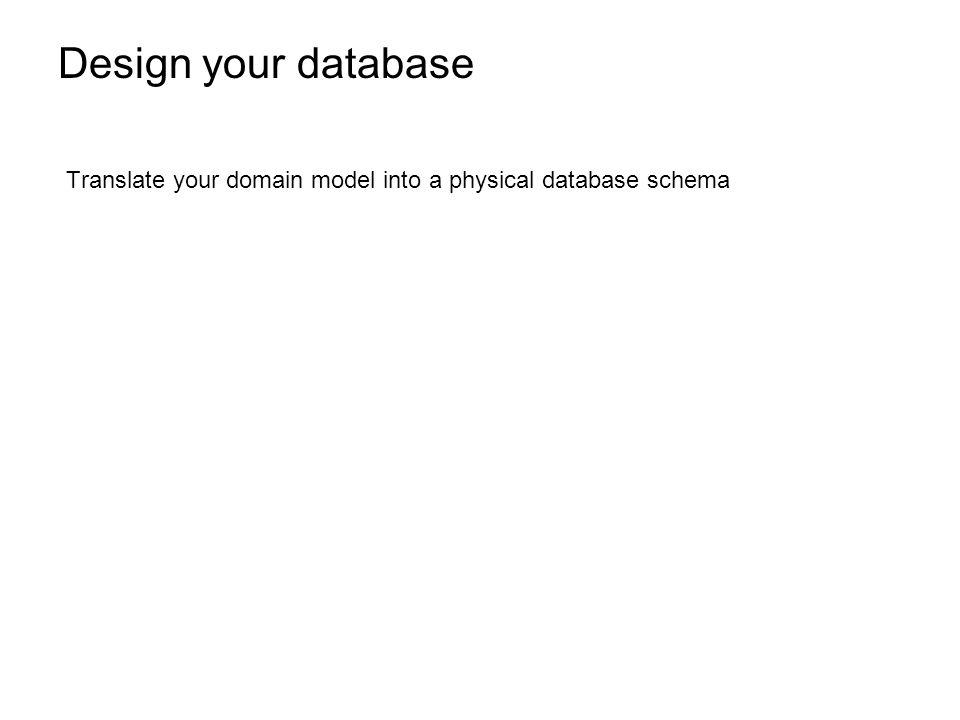Design your database Translate your domain model into a physical database schema