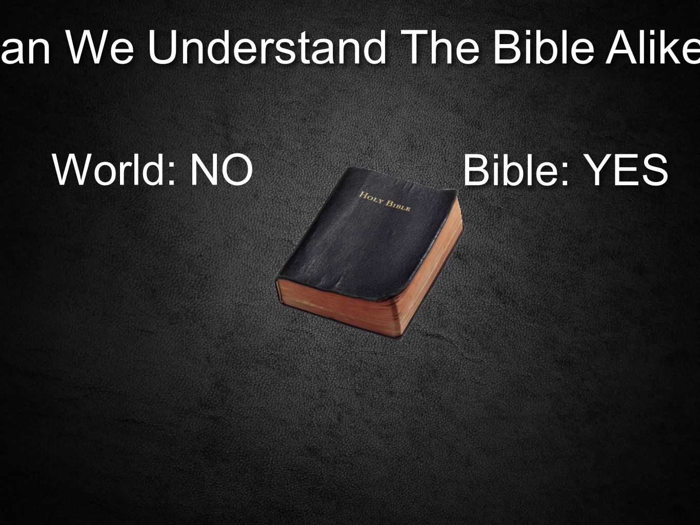 Can We Understand The Bible Alike? World: NO Bible: YES