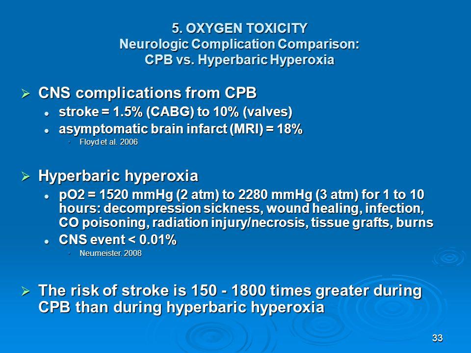 33 5. OXYGEN TOXICITY Neurologic Complication Comparison: CPB vs. Hyperbaric Hyperoxia CNS complications from CPB CNS complications from CPB stroke =