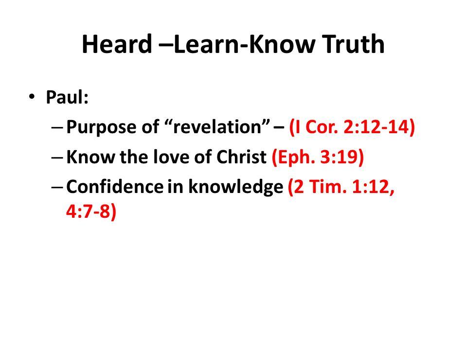 Heard –Learn-Know Truth Paul: – Purpose of revelation – (I Cor.