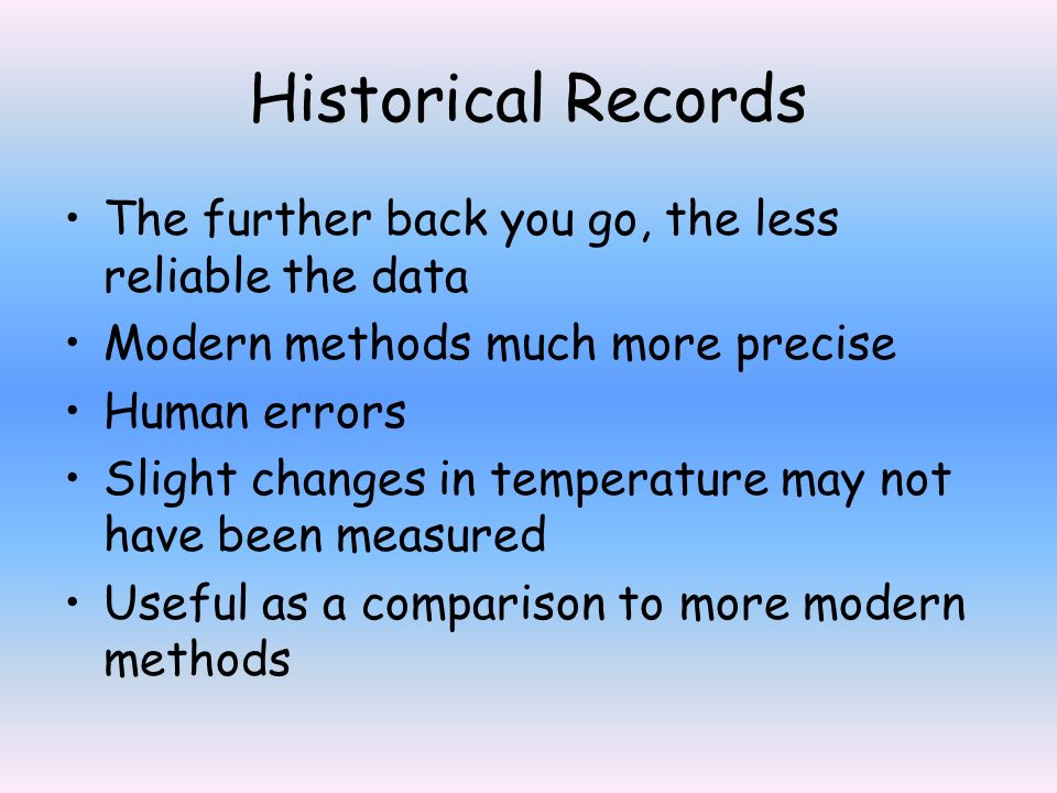 Historical Records The further back you go, the less reliable the data Modern methods much more precise Human errors Slight changes in temperature may