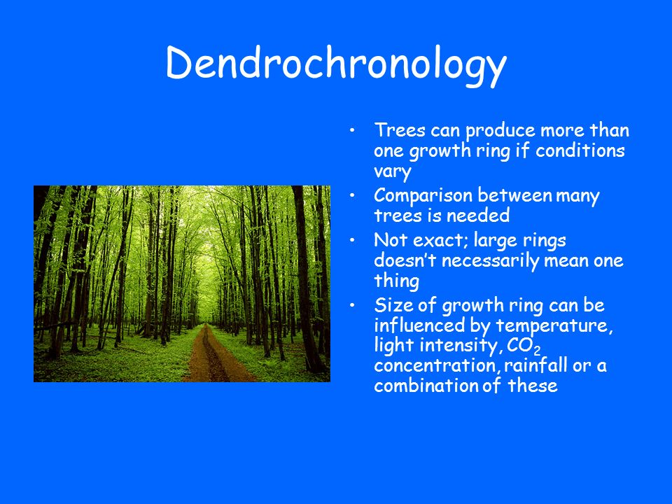 Dendrochronology Trees can produce more than one growth ring if conditions vary Comparison between many trees is needed Not exact; large rings doesnt