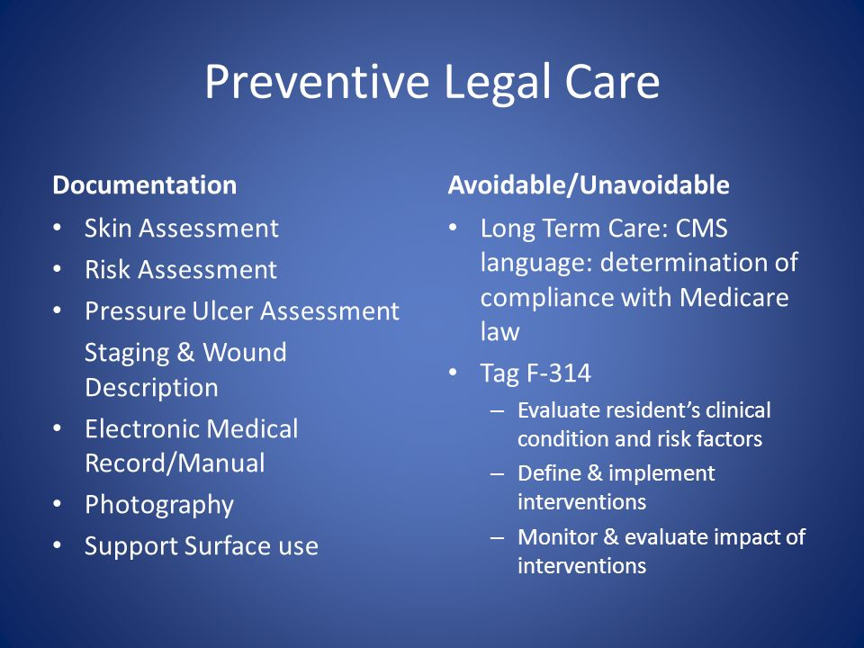 Preventive Legal Care Documentation Skin Assessment Risk Assessment Pressure Ulcer Assessment Staging & Wound Description Electronic Medical Record/Ma