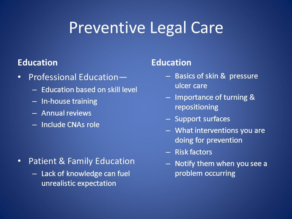Preventive Legal Care Education Professional Education – Education based on skill level – In-house training – Annual reviews – Include CNAs role Patie