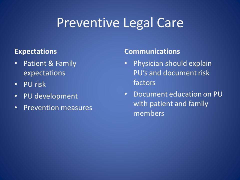 Preventive Legal Care Expectations Patient & Family expectations PU risk PU development Prevention measures Communications Physician should explain PU