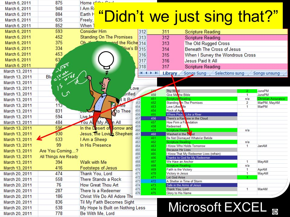 Microsoft EXCEL Didnt we just sing that?
