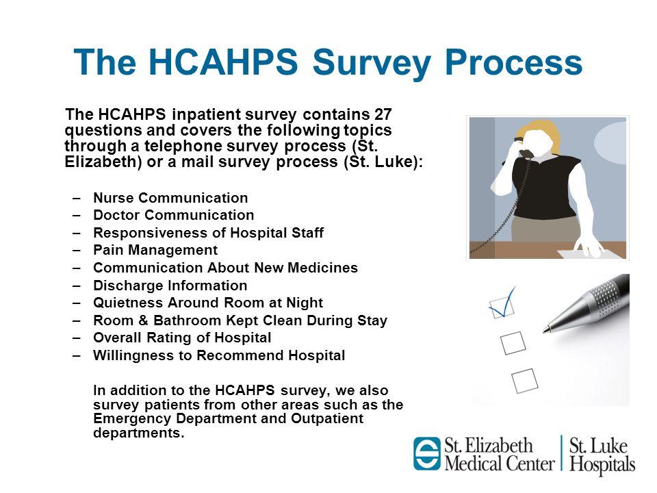 The HCAHPS Survey Process The HCAHPS inpatient survey contains 27 questions and covers the following topics through a telephone survey process (St. El