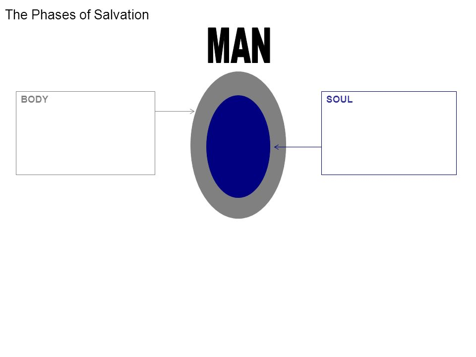 The Phases of Salvation BODY -WORLD CONSCIOUSNESS -WE WILL BE SAVED Rom 5:9,10 -GLORIFICATION -DELIVERED FROM PRESENCE OF SIN SOUL -SELF CONSCIOUSNESS -WE ARE BEING SAVED 1 Co 1:18 -SANCTIFICATION SPIRIT -GOD CONSCIOUSNESS -WE HAVE BEEN SAVED Eph 2:8.9 -JUSTIFICATION