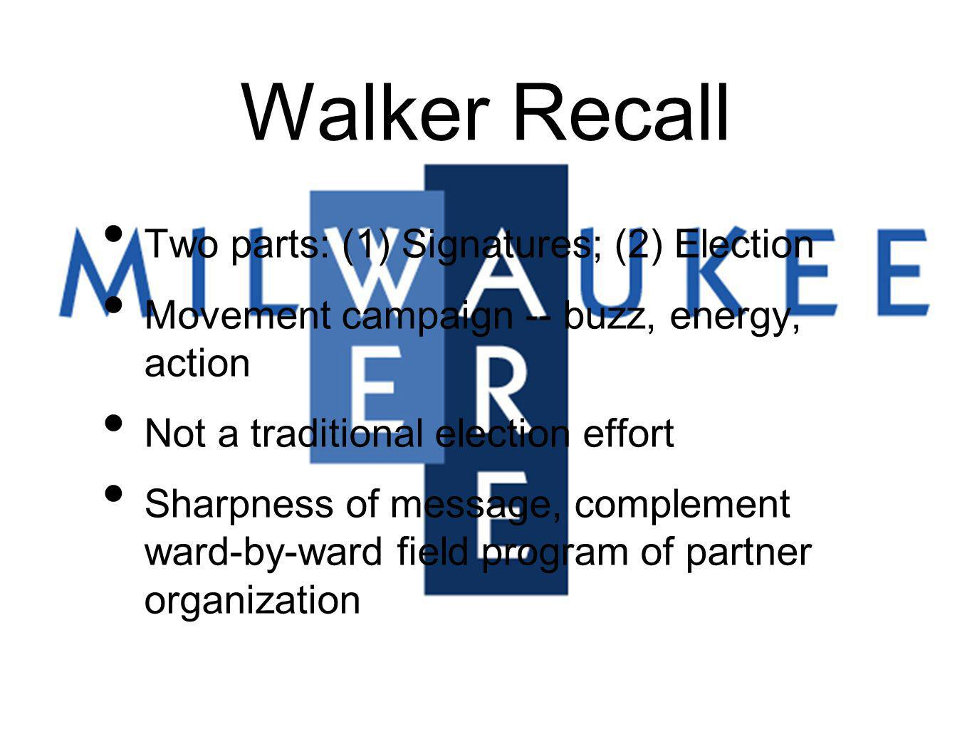 Walker Recall Two parts: (1) Signatures; (2) Election Movement campaign -- buzz, energy, action Not a traditional election effort Sharpness of message