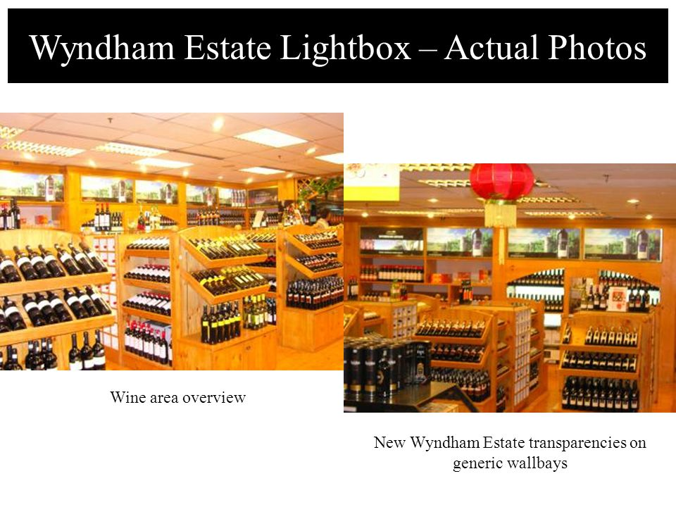 Wyndham Estate Lightbox – Actual Photos Wine area overview New Wyndham Estate transparencies on generic wallbays