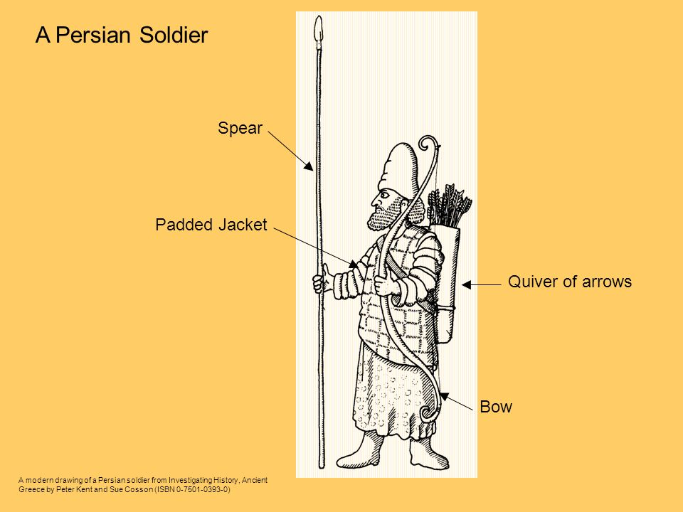 A modern drawing of a Persian soldier from Investigating History, Ancient Greece by Peter Kent and Sue Cosson (ISBN ) A Persian Soldier Spear Padded Jacket Bow Quiver of arrows