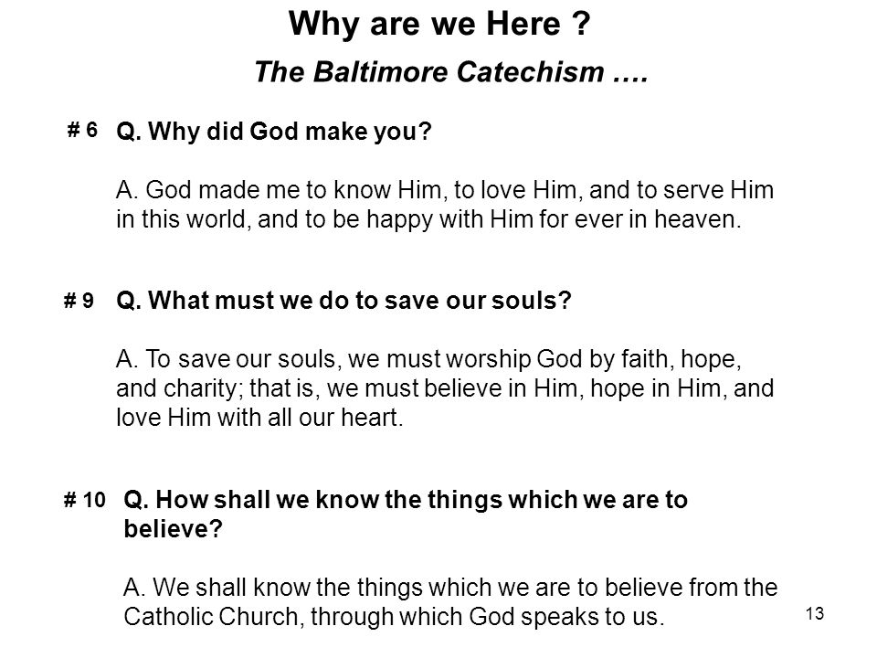 13 Why are we Here ? The Baltimore Catechism …. Q. Why did God make you? A. God made me to know Him, to love Him, and to serve Him in this world, and